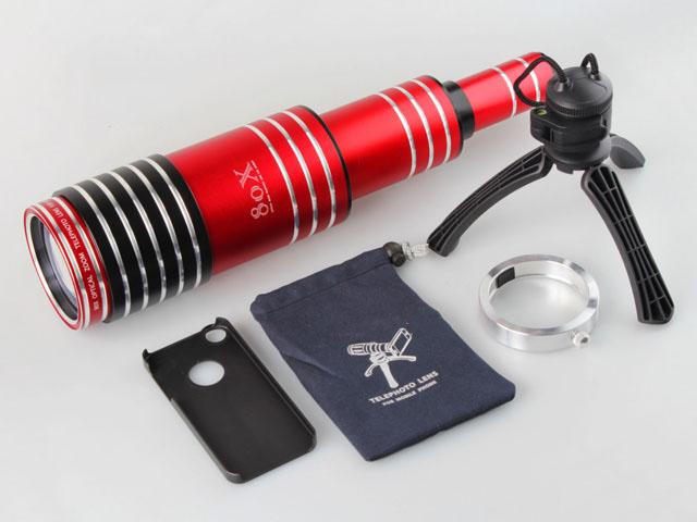O kit inclui lente, tripé, bolsa para transporte, anel de encaixe e case para celular.