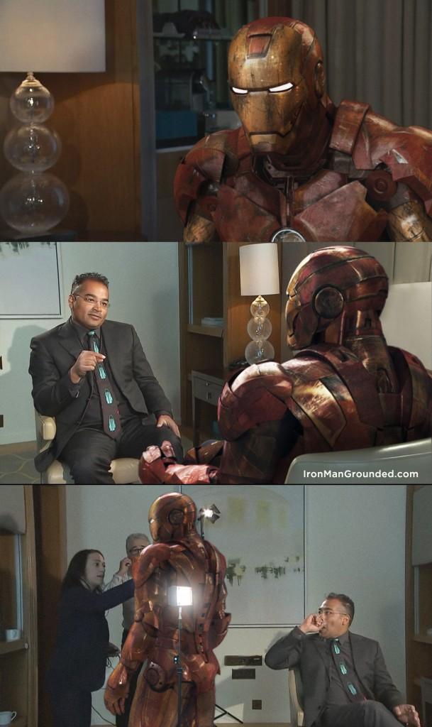 Episódio onde o ator Robert Downey Jr. saiu andando da entrevista. O fotógrafo substituiu digitalmente o ator na cena real pelo Iron Man. | Foto: Raffael Dickreuter