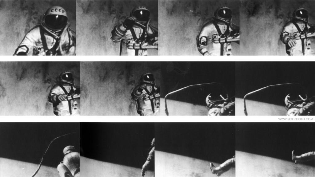 Vários frames da primeira caminhada espacial, realizada pelo cosmonauta russo Alexei Leonov.