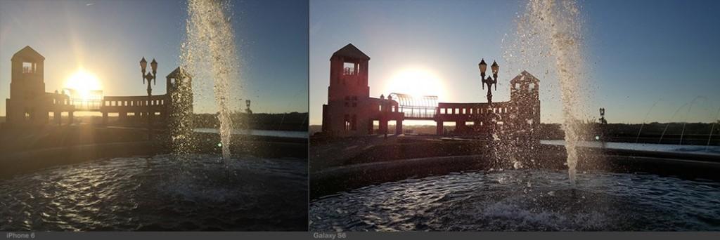 """""""Nesta primeira imagem, fica claro como a câmera do iPhone (à esquerda) não responde bem às imagens em contra-luz"""", explica Daniele Starck."""