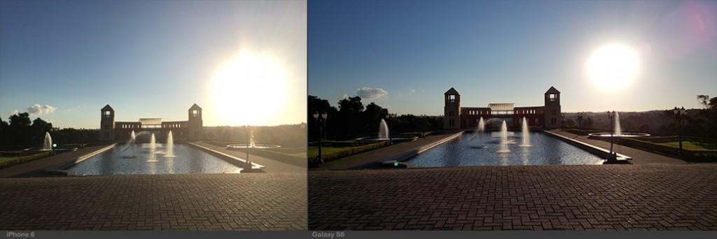 """""""Como na fotografia anterior, o Galaxy (à direita) consegue melhor resultado ao capturar a mesma cena com menor tempo de exposição, garantindo sombras mais definidas. Já no iPhone (à esquerda), apesar da imagem estar muito afetada pela luz, as cores estão menos saturadas e muito mais realistas"""""""