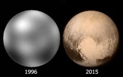 2 décadas de evolução da fotografia espacial em fotos de Plutão