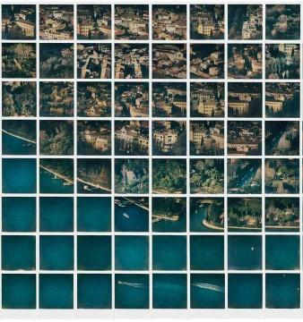 O mural de Zhang Xulong criado com filmes Color 600 do Impossible Project e uma câmera Polaroid.