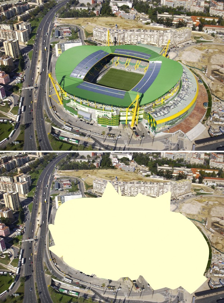 O Estádio de Alvalade, em Portugal, deixaria de aparecer em fotografias panorâmicas usadas para fins comerciais.