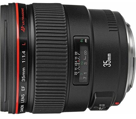 A lente Canon EF 35mm f/1.4L USM, atualmente a venda por US$ 1500 (encontrada no Brasil a partir de R$ 6000)
