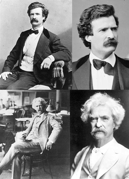 O escritor Mark Twain e sua seriedade em fotografias registrada.