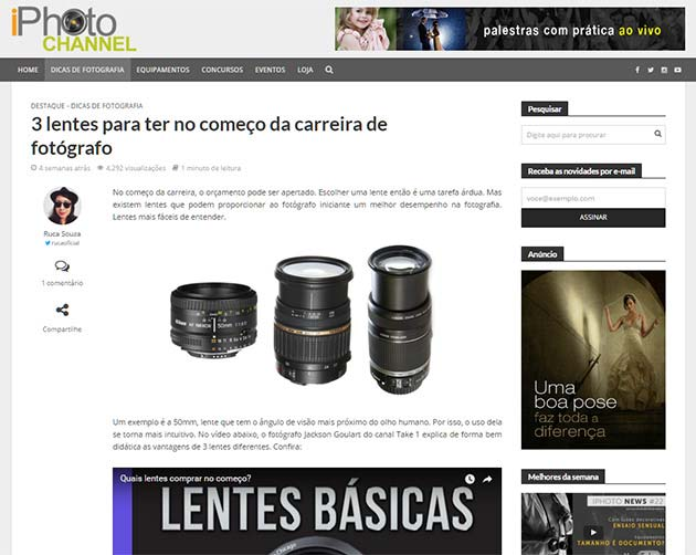 Exemplo de leitura dentro do site novo