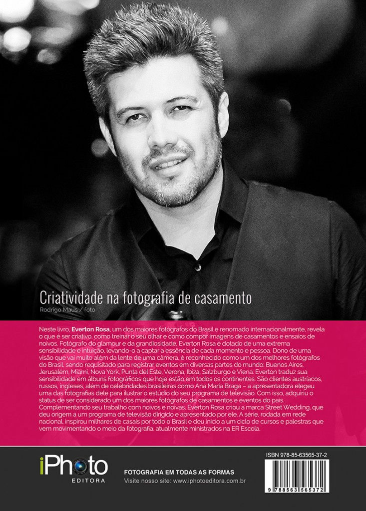 """Contracapa do livro """"Criatividade na Fotografia de Casamento"""" de Everton Rosa."""