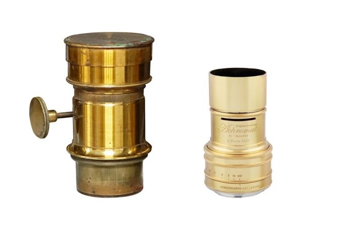 A lente original de Daguerreótipo à esquerda e a nova da Lomography à direita