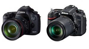 Canon 5D Mark III (esquerda) e Nikon D7100