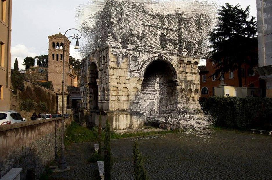 Colagem entre foto de Olympio Augusto Ribeiro e gravura de Giovanni Battista Piranesi