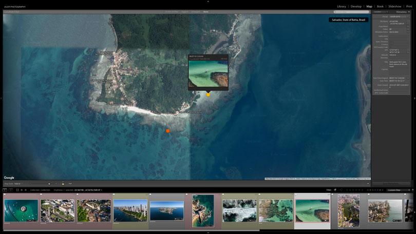 Imagens com coordenadas geográficas sinalizadas no modulo de Mapa do programa Adobe Lightroom graças ao uso do GPS