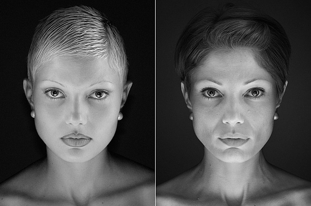 A modelo Vanessa, em 2002 (à esquerda) e em 2016 (à direita) | Foto: Urs Recher