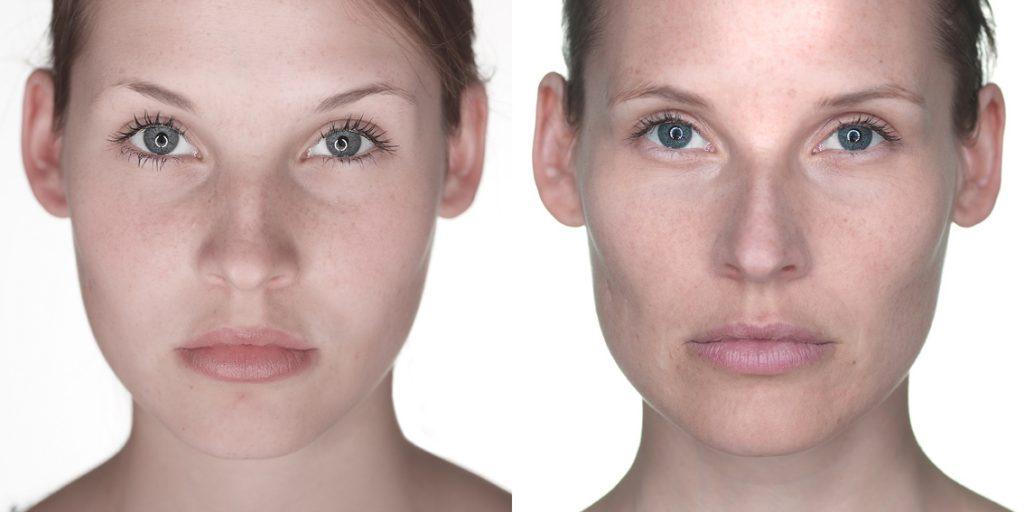 A modelo Caroline, em 2002 e em 2016 | Foto: Urs Recher
