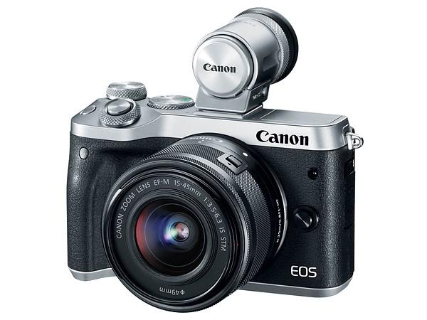 O novo visor montado em uma Canon EOS M6 prata
