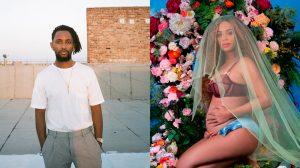 A fotógrafo Awol Erizku (à esquerda) e a foto que fez de Beyoncé grávida.