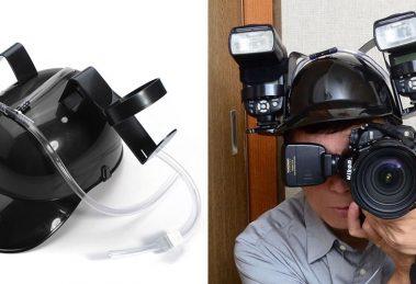 """Fotógrafo usa """"capacete de cerveja"""" para montar flashes em sua cabeça"""